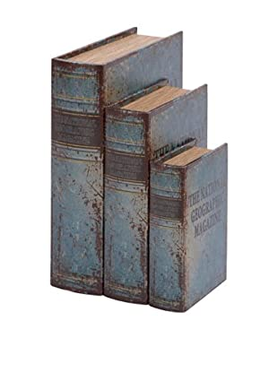 Set of 3 Faux Leather Book Boxes, Blue