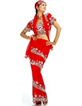 Exotic India Red Wrap Around Four Piece Saree Suit with Heavy Sequins and - Red