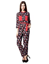 MEIRA Full Seleeve Chinese Collar Multicolor Creepe Jumpsuit
