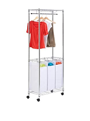 Honey-Can-Do Triple-Sorter Urban Rolling Laundry Center, Chrome