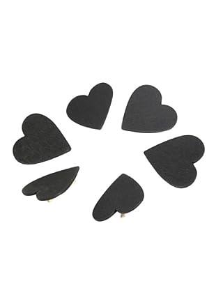 Delys-by-Crealys Set de 6 pinzas corazón de pizarra