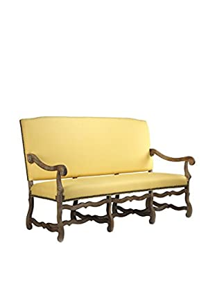 Zentique Julien Bench, Yellow/Limed Grey