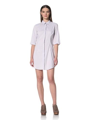 JIL SANDER NAVY Women's Fine Stripe Cropped Sleeve Shirt Dress (Grey)