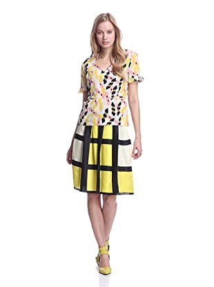MARNI Women's Diamond Print V-Neck Top with Ruffle Trim (Yellow/Pink/Ivory)
