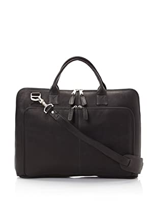 Latico Heritage Collection Slim Top-Zip Briefcase (Black)