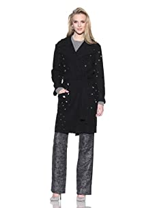 Chris Benz Women's Martha Wrap Coat with Cutouts (Black)