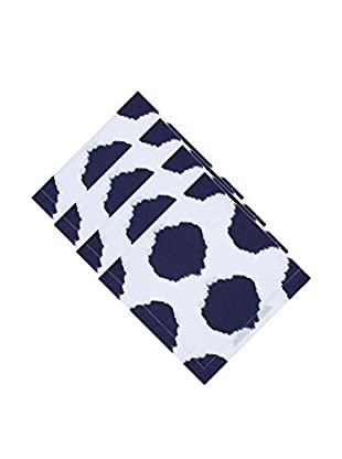 KAF Home Set of 4 Ikat Dot Napkins, Navy