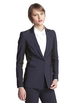 Elie Tahari Women's Anna Jacket Single Breasted Blazer (Navy Yard/Black)
