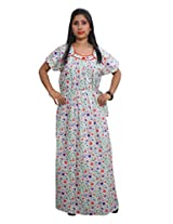 Indiatrendzs Women's Cotton Nighty White Floral Printed Nightwear Nightgown Maxi