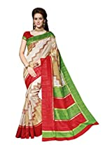Green & Red Colour Faux Bhagalpuri Semi Party Wear Shiny Geometric Printed Saree 13334