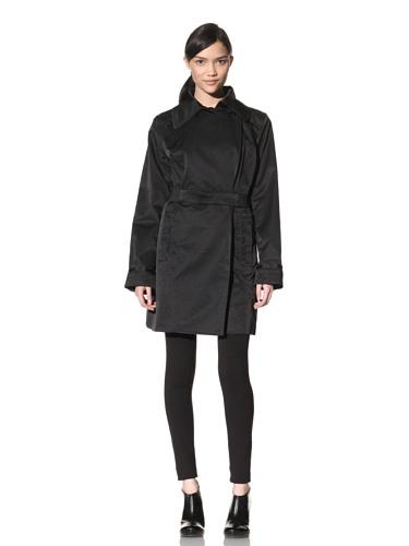 Rainforest Women's Belted Trench Coat (Black)
