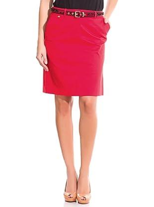 Cortefiel Falda Básica Algodón Perchado (Rojo)