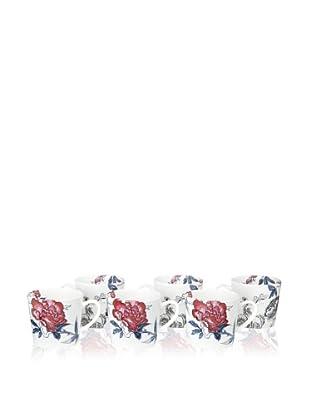 Elinno Set of 6 Rose Garden Mugs, White/Multi, 3.5