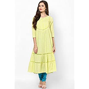 Trendy Casual Wear Long Yellow & Green Colored Kurti by Sangria