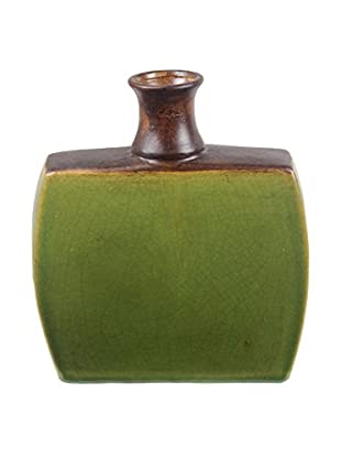Privilege International Small Drip Ceramic Vase, Green