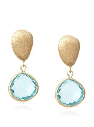 Rivka Friedman Sky Blue Crystal Teardrop Dangle Pebble Post Earrings