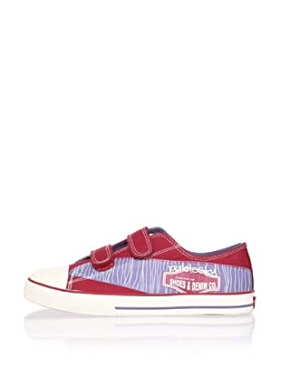 Pablosky Kid's Double-Strap Logo Sneaker (Red)
