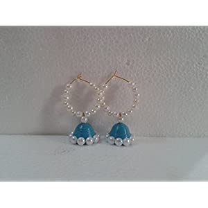 B Jeweled Peacock Blue Quilled Earring