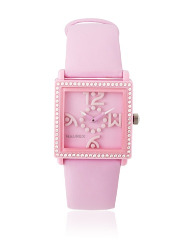 Haurex Italy Women's PF369DPP Diverso PC Square Pink Dial Crystal Bezel Leather Watch