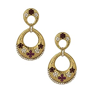 Voylla Gold Plated Sparkling Floral Theme Earrings Studded With Cz