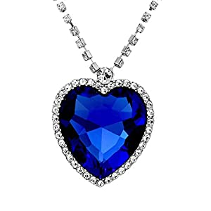 Crunchy Fashion Blue Sapphire Heart Pendant Necklace For Women