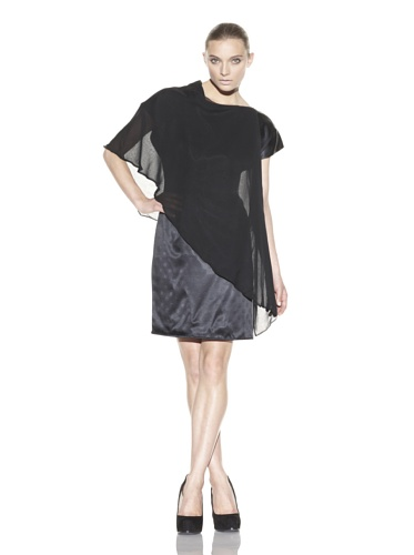 Christian Siriano Women's Wrap Neck Scarf Dress (Black)