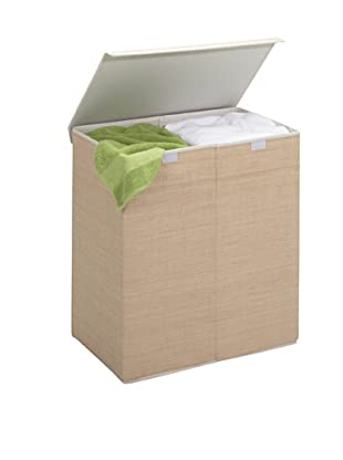 Honey-Can-Do Two-in-One Double Resin Hamper with Cover, Natural