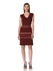 Catherine Malandrino Women's Cap Sleeve Pointelle Dress with Pleats (Bordeaux)