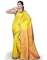 Utsav Fashion Women's Yellow Pure Kanchipuram Handloom Silk Saree with Blouse
