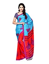 Ambaji Sky Blue & Red Coloured Chiffon Printed Saree