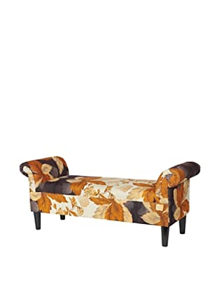 One of a Kind Kantha Roll Arm Bench, Amber/Black Multi