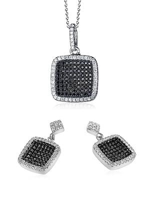 Orphelia Set Kette und Ohrringe  schwarz/weiß