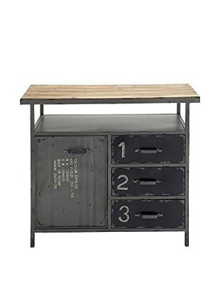 Metal & Wood Utility Cabinet, Grey