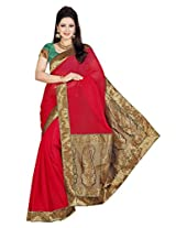 De Marca Red Chiffon M211 Saree