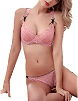 Glus Night Delight Underwire Bra & String Tanga Wedding Lingerie Set , Color - Pink (36)