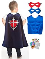 Little Adventures Prince Cape, Power Vest, Mask Age 3-8 with Coloring Book