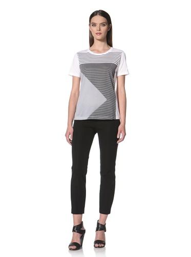 JIL SANDER NAVY Women's Geometric Printed Short Sleeve T-Shirt (Navy Multi)