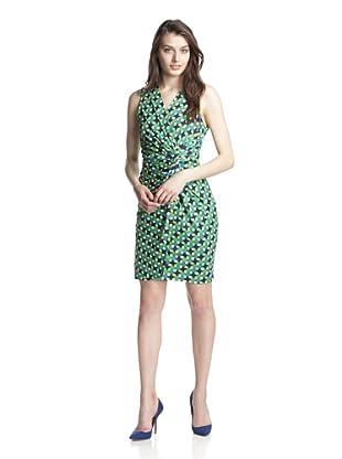 JB by Julie Brown Women's Lucia V-Neck Knot Dress (Navy Green Marina)