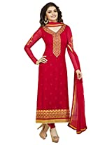 Fazals Red Georgette Salwar Suit