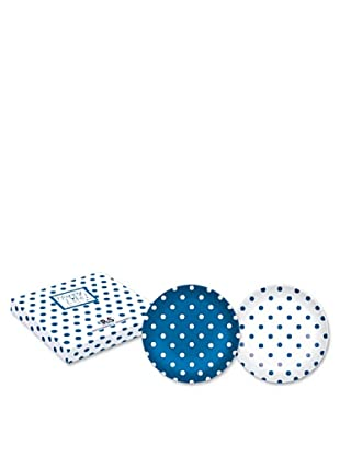Easy Life Design Set 2 Piatti Dessert in Porcellana Bone China Happy Pois (Blu)