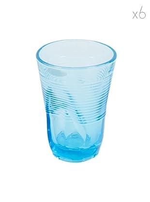 Kaleidos Set 6 Bicchieri Accartocciati 340 ml (Azzurro)
