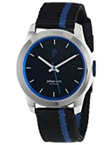 """Johan Eric Men's JE1400-04-007.3 """"Naestved"""" Stainless Steel and Black and Blue Canvas Watch"""