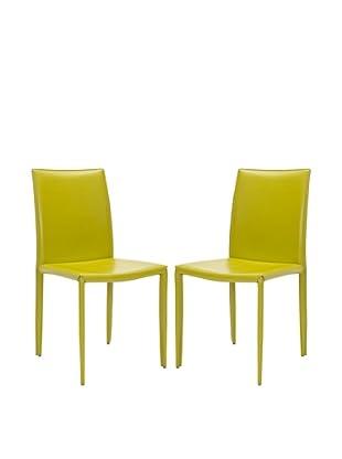 Safavieh Set of 2 Karna Dining Chairs, Green