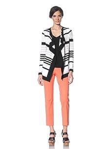 Adrienne Vittadini Women's Striped Cardigan (Black/White)