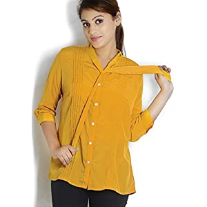3/4Th Sleeve Solid Mustard Yellow Tunic