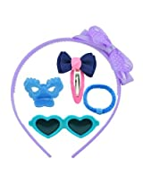 Angel Glitter Fabric, Plastic & Rubber Clips Combo Of 5 For Children -Blue