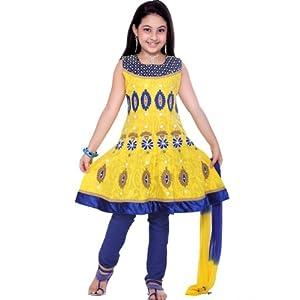 Yellow Cotton Churidar Kameez
