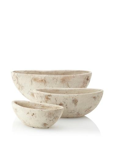 Wald Imports Set of 3 Decorative Ceramic Planters, Desert Sand