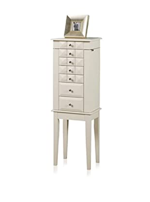 Dome 6 Drawer Jewelry Armoire (White)