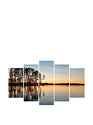 LO+DEMODA Leinwandbild 5 tlg. Set Trees Near Lake